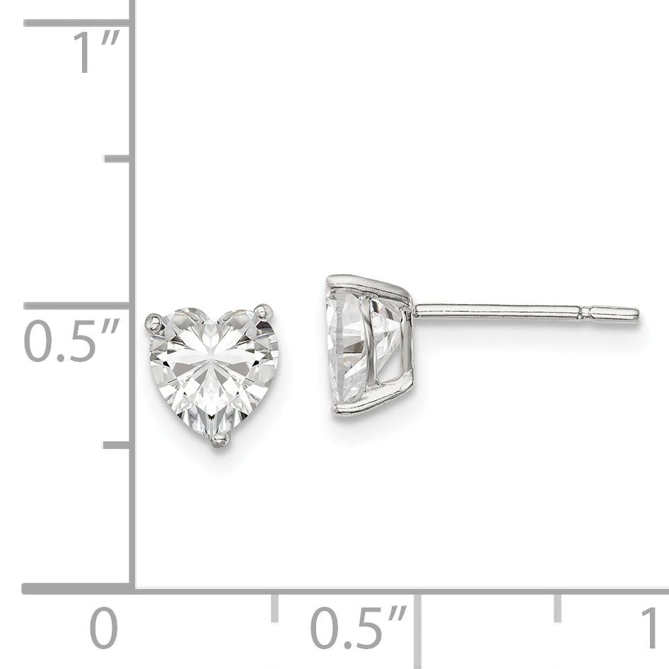 Solid 925 Sterling Silver 6mm Heart 3 Prong CZ Cubic Zirconia Stud Earrings