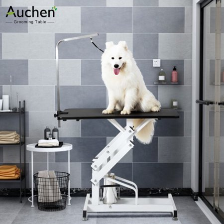 New Upgrade Professional Z-Lift Hydraulic Grooming Table with Arm,AUCHEN Folding Dog Grooming Table Heavy Duty Professional Grooming Table with Clamp on Arm Height Adjustable Great for Large Dog Cat