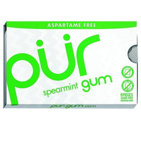 Pur Gum - Spearmint - Aspartame Free - 9 Pieces - 12.6 g - Case of 12 ()