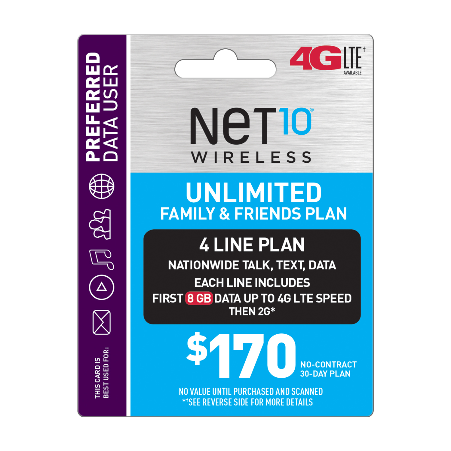 Net10 $170 Unlimited Family & Friends Plan for 4 Lines (8GB of data per line at high speeds, then 2G*) (Email Delivery)