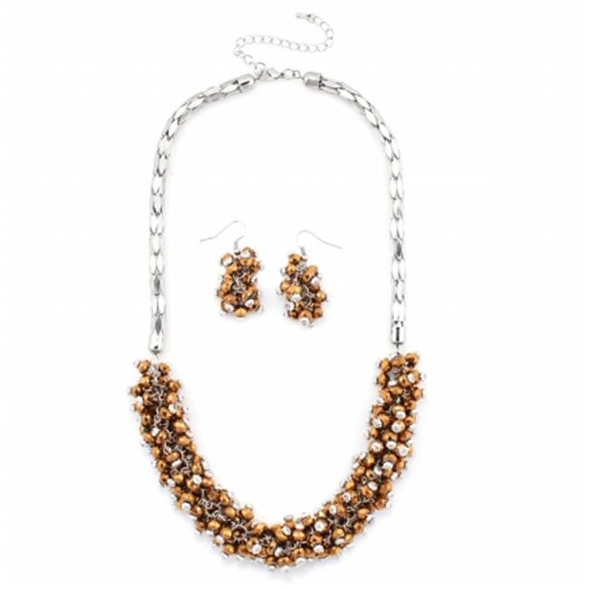 Eshopo 0805470000365 Silver-Tone Metal Brown Bead Necklace And Earring Set
