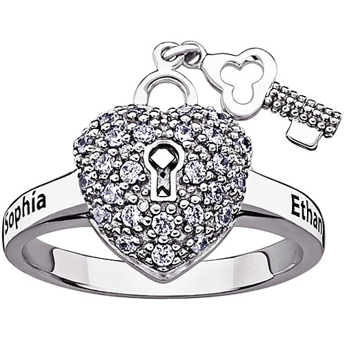 Personalized Women's Sterling Silver CZ Couple's Name Heart Lock and Key Ring