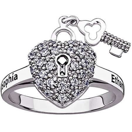 Personalized Planet Jewelry - Personalized Women s Sterling Silver CZ  Couple s Name Heart Lock and Key Ring - Walmart.com 2f811ec244