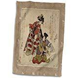 3D Rose Vintage Japanese Ladies in Red and Neutral Colors twl 38195 1 Towel 15 x 22 Color Red Japan