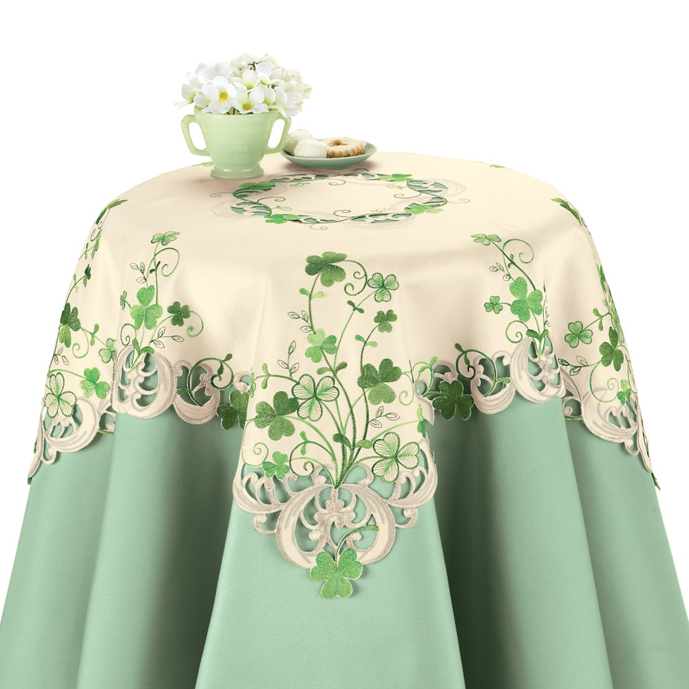 Embroidered Irish Shamrock Table Linens, Square, Multi by Collections Etc