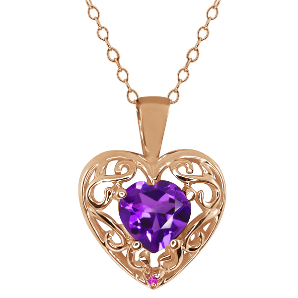 0.75 Ct Heart Shape Purple Amethyst Pink Sapphire Gold Plated Silver Pendant