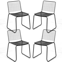 Costway Set of 4 Metal Dining Chair Armless Stackable Slat Seat Patio Indoor