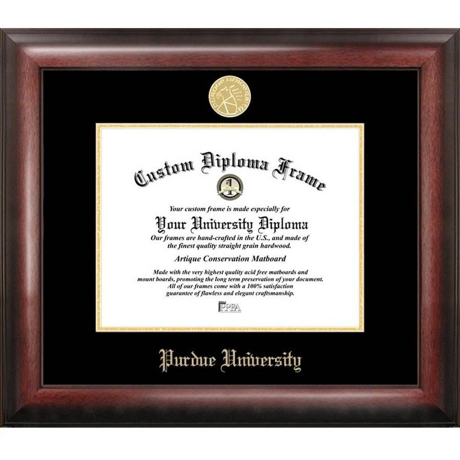 "Purdue University 7.625"" x 9.625"" Gold Embossed Diploma Frame"