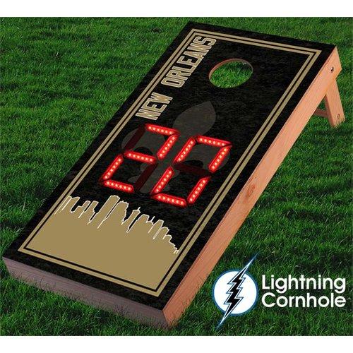 Lightning Cornhole Electronic Scoring New Orleans Skyline Cornhole Board by