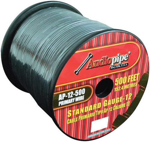 Audiopipe AP12500BK 12 Gauge 500Ft Primary Wire Black