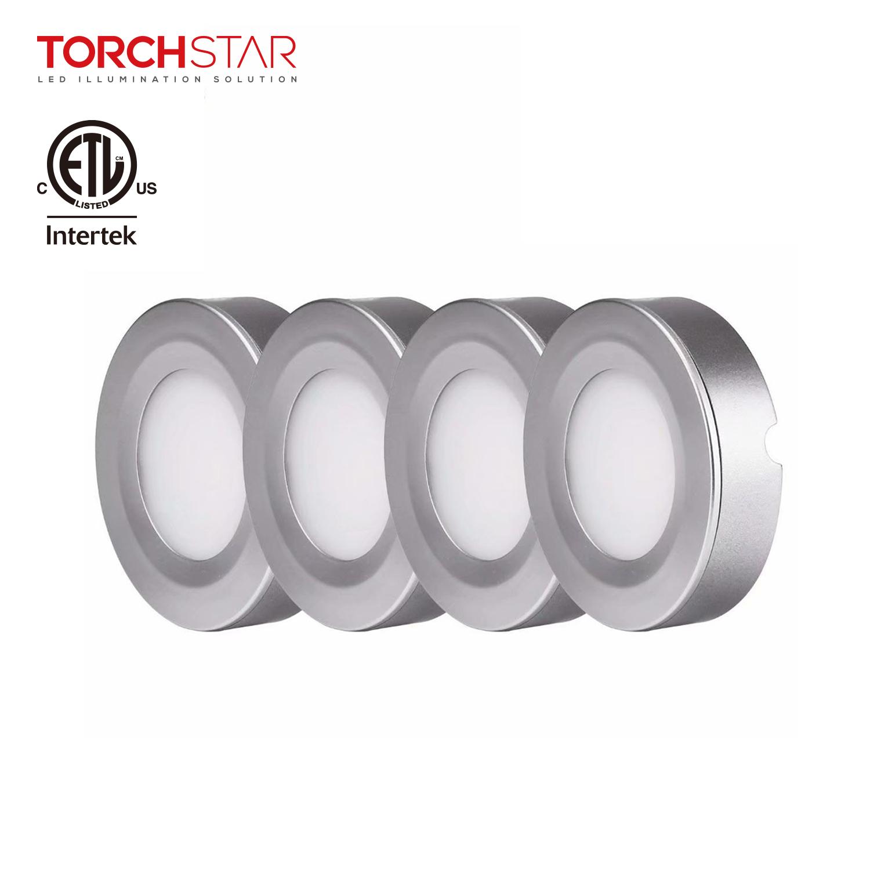 TORCHSTAR 4 Pack LED Puck Night Light Under Cabinet Lighting Kit, LED Lighting, Warm White