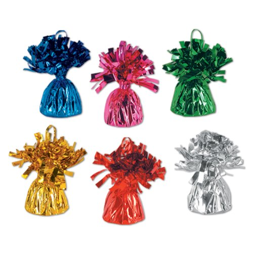 Beistle 50804-ASST Metallic Wrapped Balloon Weights. Contains 12 Metallic