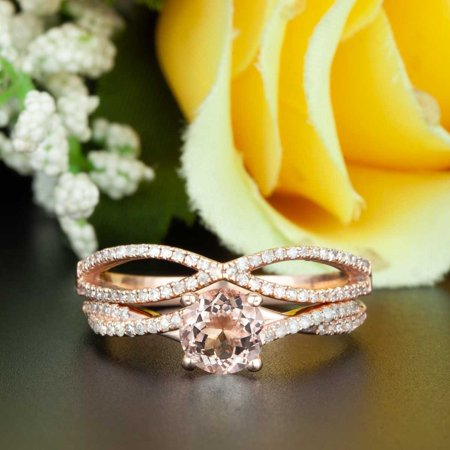 Diamond Bridal Ring Guard - 2 Carat Round Cut Peach Morganite and Diamond Bridal Ring Set in Rose Gold Celebrity Ring