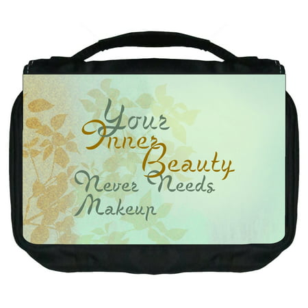 Small Travel Toiletry / Cosmetic Case with 3 Compartments and Detachable Hanger Your Inner Beauty Never Needs Makeup -Gentle Floral Print - Nerd Makeup