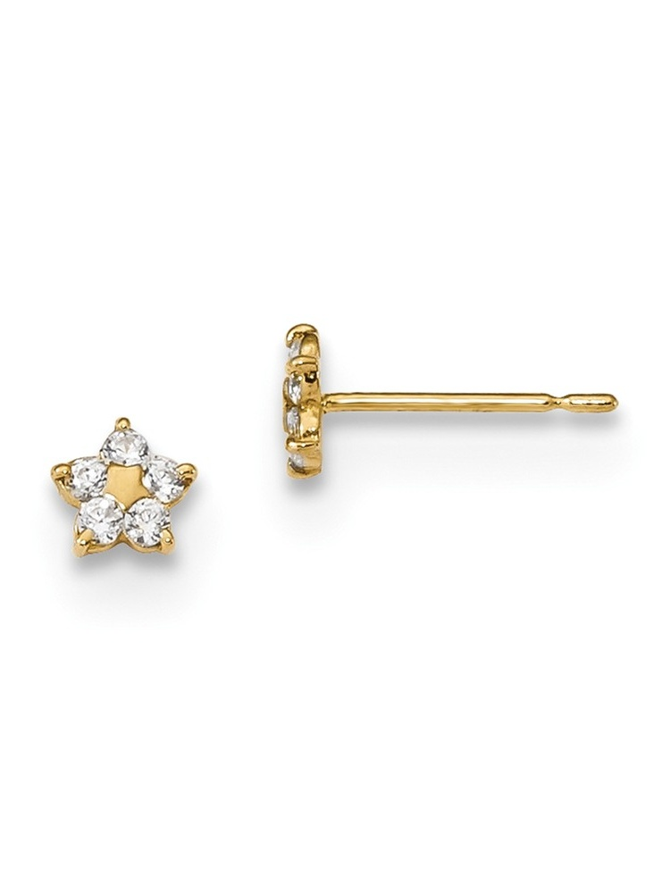 Solid 14k Yellow Gold CZ Cubic Zirconia Childrens Apple Post Earrings 4mm x 5mm