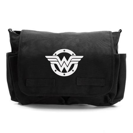 Wonder Woman logo Army Heavyweight Canvas Messenger Shoulder Bag ()