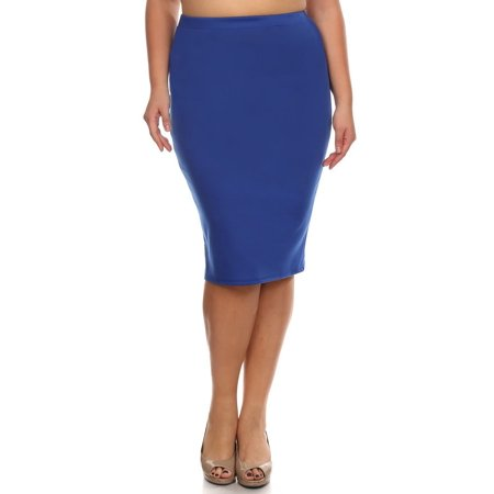 0ffde67cdaf Moa Collection - Plus size Women s Trendy Style Solid Pencil Skirt -  Walmart.com