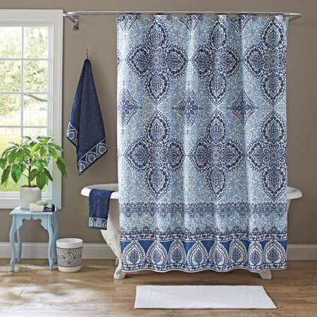 Better homes and gardens indigo arabesque shower curtain Better homes and gardens shower curtains