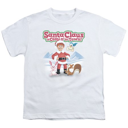 Santa Claus Is Comin To Town/Animal Friends S/S Youth 18/1 White   Drm137