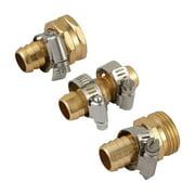 "Metal Brass 3/4"" Garden Hose Repair Mender Kit Male Female Repair with Stainless Clamp"