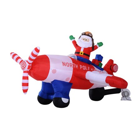 8 santa claus flying airplane with animated rotating propeller led