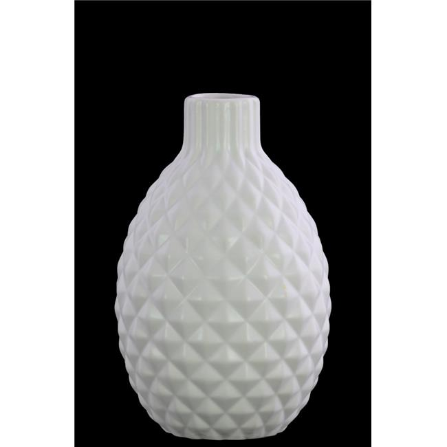 Urban Trends Collection 31850 Stoneware Bellied Round Vase with Wave Design Lips, Matte & White - image 1 of 1