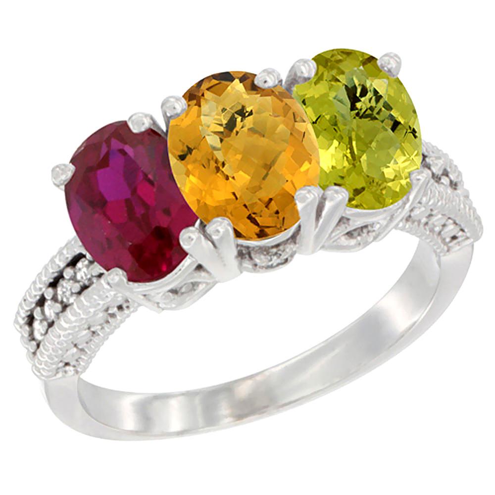 10K White Gold Diamond Enhanced Ruby, Natural Whisky Quartz & Lemon Quartz Ring 3-Stone 7x5 mm Oval, sizes 5 - 10