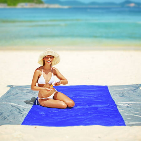 Beach Blanket Oversized Sand Free, Compact Outdoor Beach Mat, 10'x 9' for 7 Adults, Ultra Lightweight, Includes 6 Sand Pockets, Ideal for Picnic, Beach Trip, Hiking, Festivals &