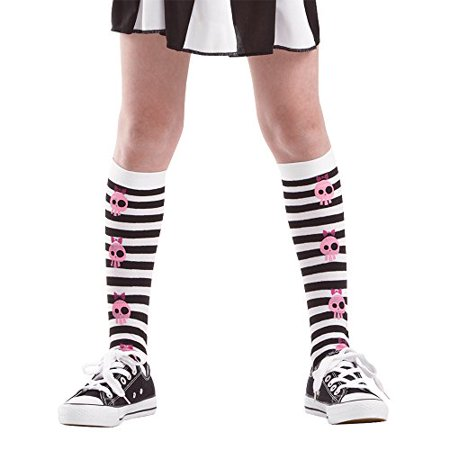 Boo! Inc. Striped Knee-High Pink Skull Halloween Costume Cosplay Costume Tights](Disney Halloween Song Boo To You)