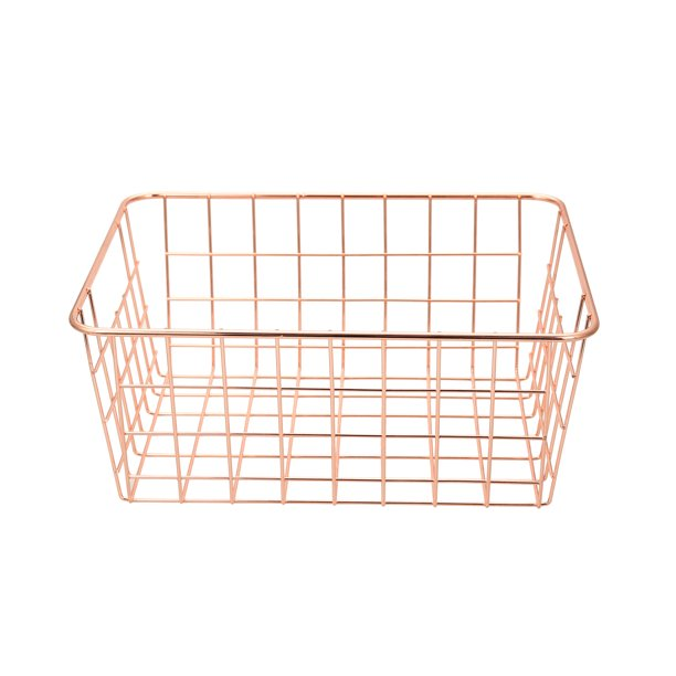 Mainstays Rose Gold Wire Basket, 2 Count