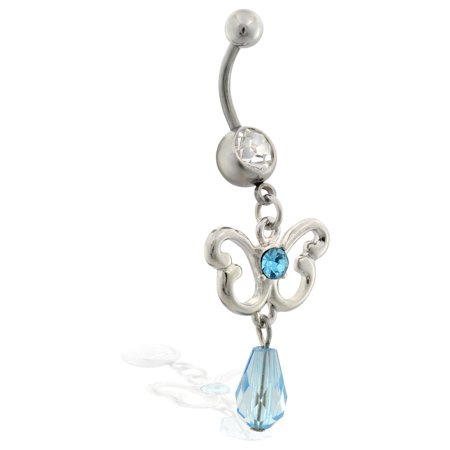 Belly Ring With Dangling Aqua Jeweled Butterfly And (Butterfly Dangling Belly Ring)