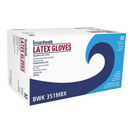 Boardwalk Latex Exam Gloves, Medium, Natural, 100 count, (Pack of 10)