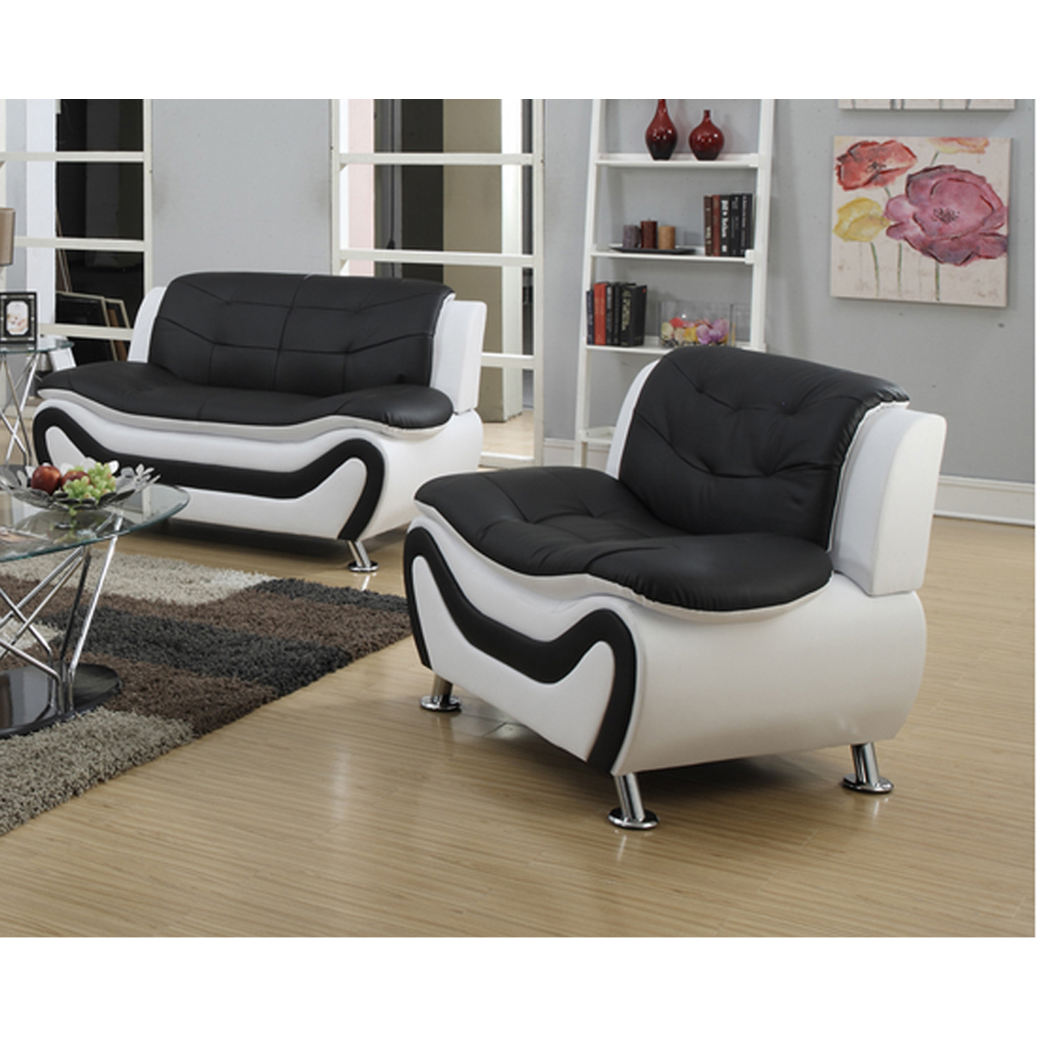 Frady Black and White Faux Leather Modern Living Room Loveseat and Chair Set