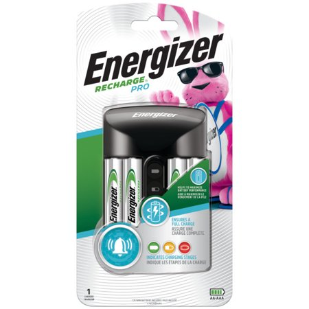 Energizer Recharge Pro AA & AAA Battery Charger, Includes 4 Rechargeable NiMH AA (Disposable Battery Recharger)