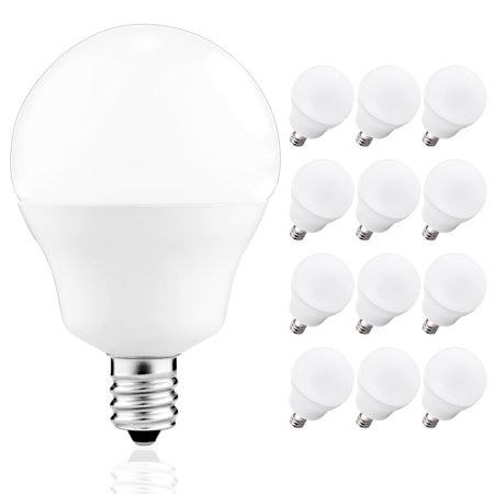 G14 Globe LED Bulbs, JandCase 5W Light Bulb for Candelabra, Christmas, 40W Equivalent, 4000K Daylight, E12 Base, 12CT