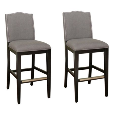 AHB Chase Counter Stool - Black with Smoke Linen Upholstery - Set of 2