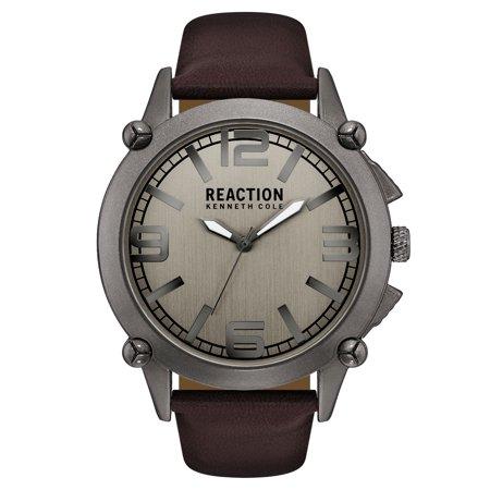 Kenneth Cole Reaction Men's Dark Brown Leather Strap Watch (Watchs Kenneth Cole)