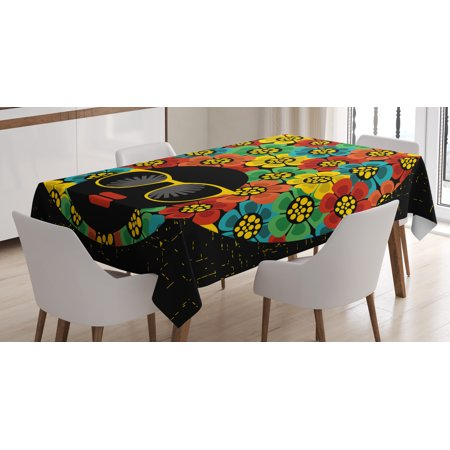 70s Party Decorations Tablecloth, Graphic Woman Head with Hair Made of Colorful Flowers Sunglasses Lips, Rectangular Table Cover for Dining Room Kitchen, 52 X 70 Inches, Multicolor, by (70's Hair)