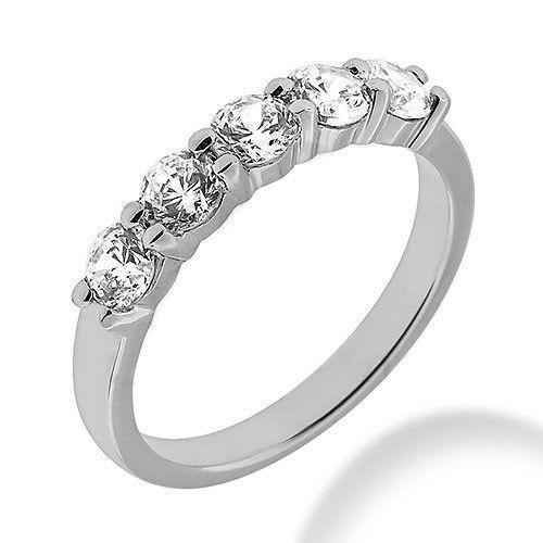 1ct Round Cut 5 Diamond Wedding Anniversary Band, Size 6, Prong Set, 1 5ct each Platinum by