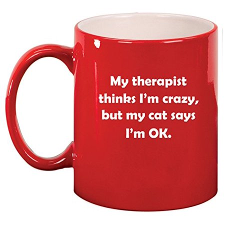Ceramic Coffee Tea Mug Cup My Cat Therapist  Red