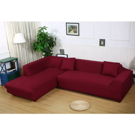 Sofa Covers for L Shape, 2pcs Polyester Fabric Stretch Slipcovers + 2pcs  Pillow Covers for Sectional sofa L-shape Couch - Solid Color Red