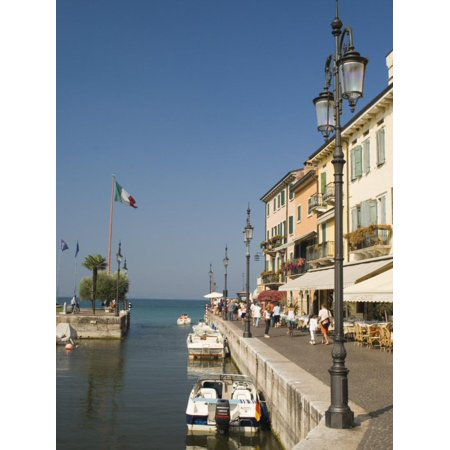 Harbour Entrance and Quayside Cafes, Lazise, Lake Garda, Veneto, Italy, Europe Print Wall Art By James Emmerson