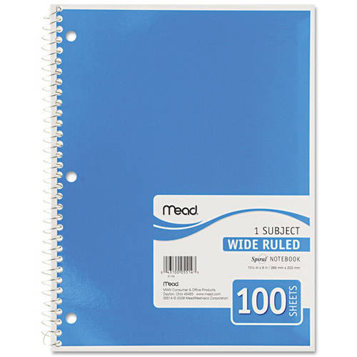 Mead Spiral Bound Wide Rule Notebook, 1 Subject, 100 sheets, 4 pack, Colors May Vary