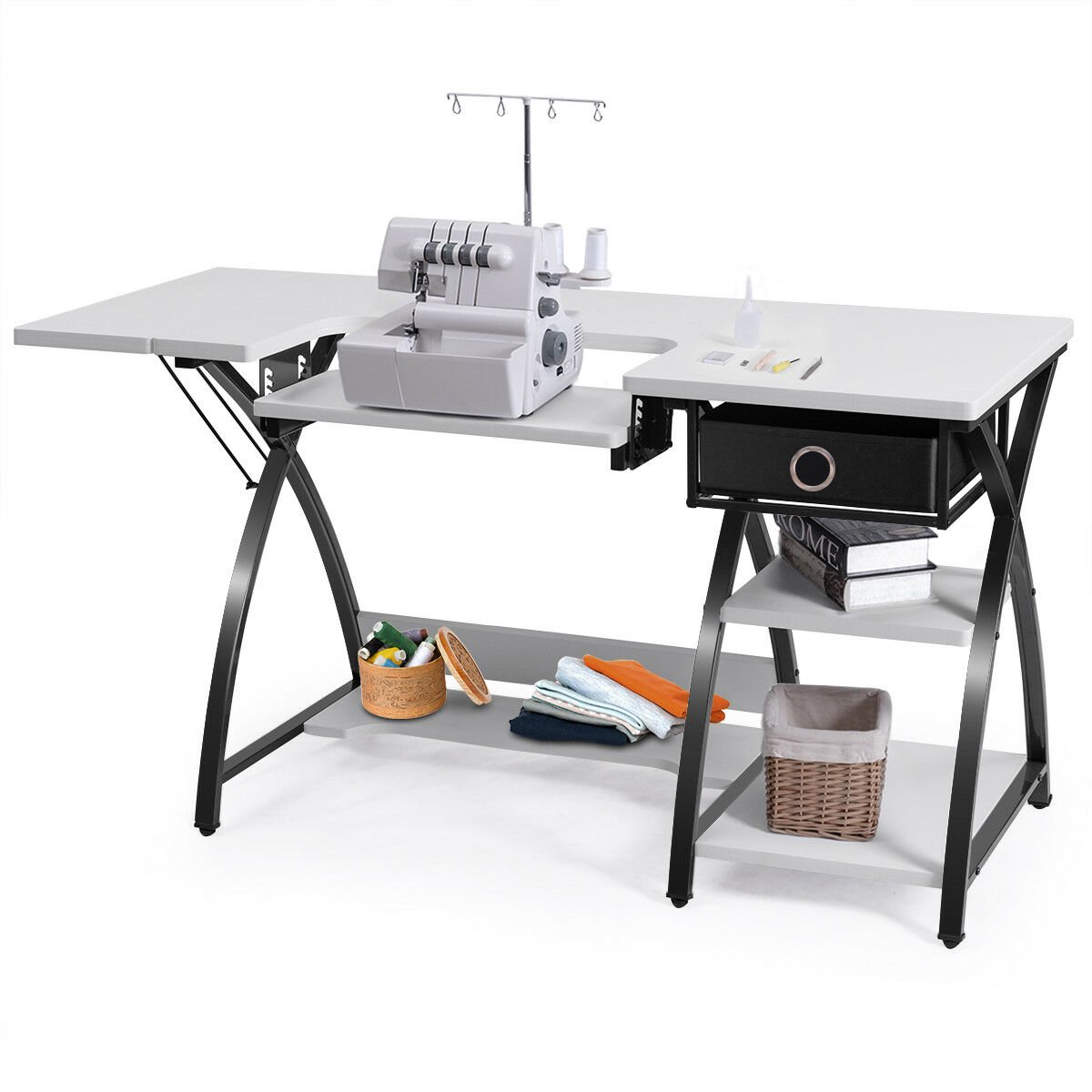 Sewing Craft Table Folding Computer Desk Adjustable Platform W Drawer Shleves Walmart Canada