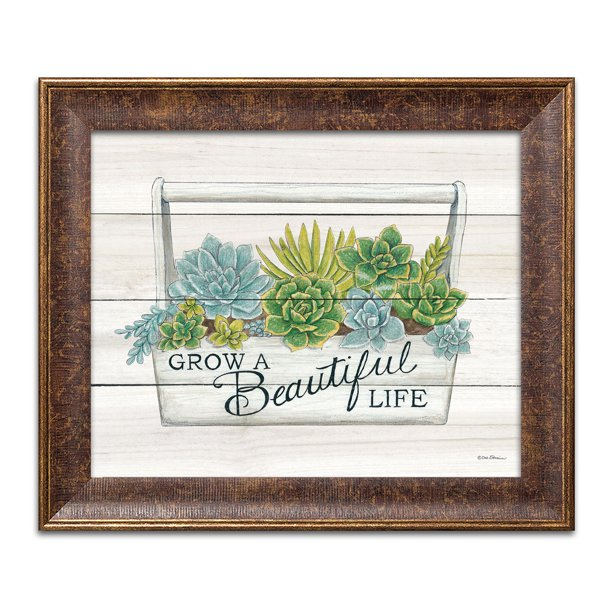 Gango Home Decor Contemporary Beautiful Life Succulents; One 16x12in Art Print in Gold Trim Brown Frame