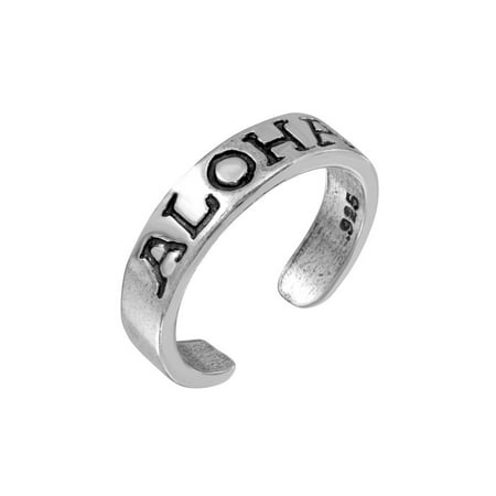 Sterling Silver Aloha Engraved Adjustable Toe Ring