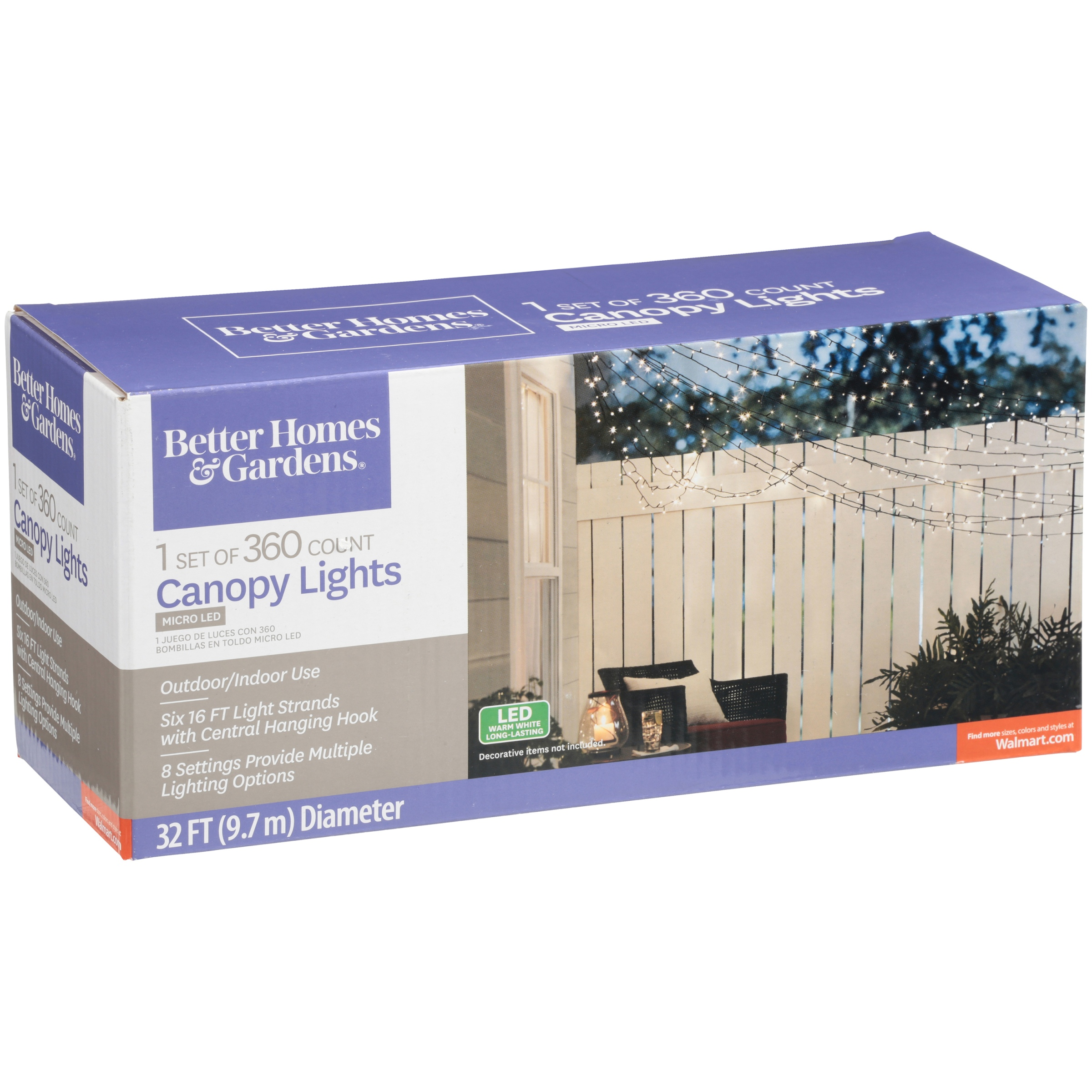 Better Homes and Gardens Outdoor 1 Set Micro LED Canopy Light Set ...