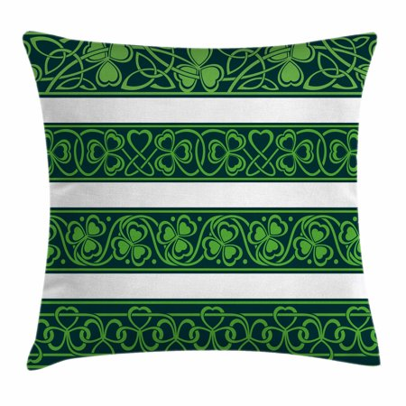 Irish Throw Pillow Cushion Cover, Set of Four Shamrock Borders Gaelic Nature Botany Theme Artsy Trefoils Swirls, Decorative Square Accent Pillow Case, 18 X 18 Inches, Lime Green Black, by - Theme Border