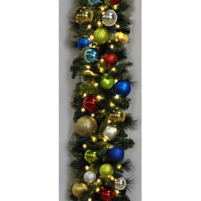 Queens of Christmas WL-GARSQ-09-FIESTA-LWW 9 ft.  Pre-Lit Warm White Sequoia Garland Decorated with The Fiesta Ornament