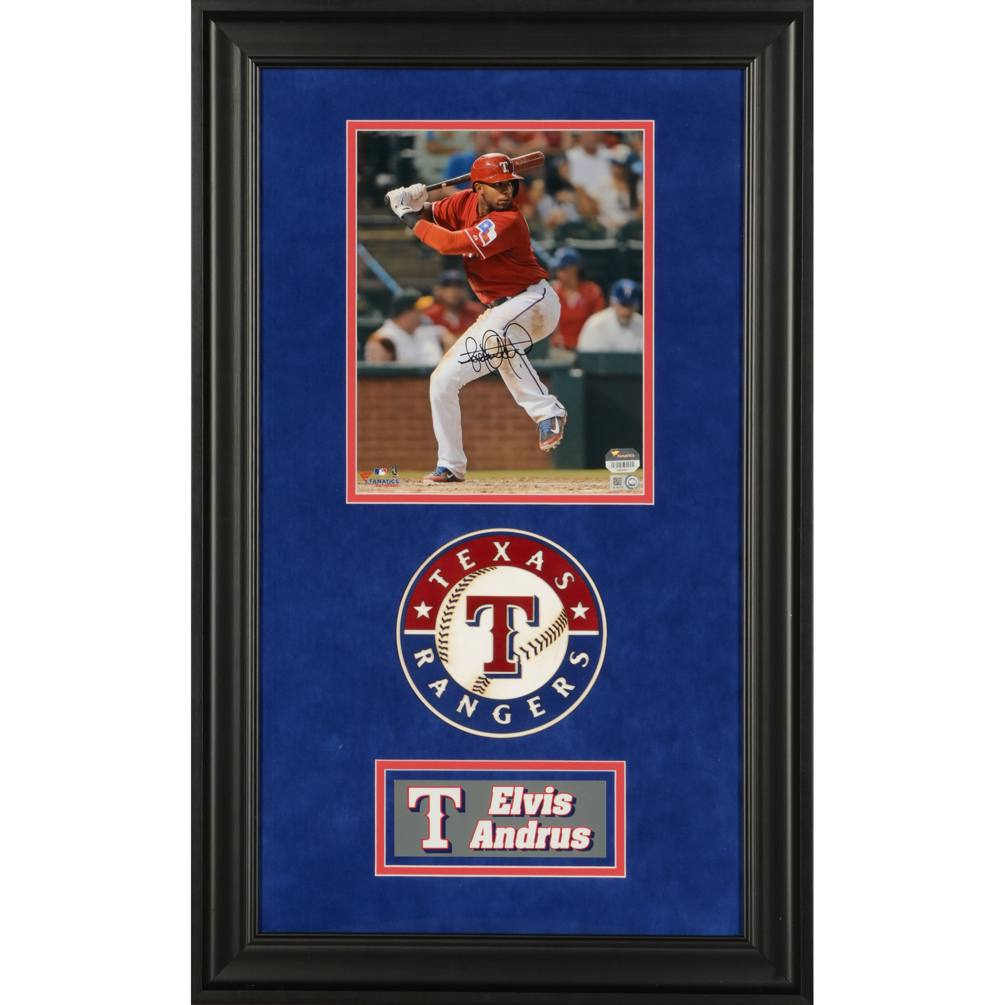 """Elvis Andrus Texas Rangers Fanatics Authentic Deluxe Framed Autographed 8"""" x 10"""" Hitting Leg Up Photograph - No Size"""